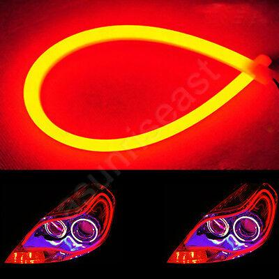 """2 x Red 85cm 33.5"""" Car LED DRL Daytime Running Light Flexible Tube Strip DC12V"""