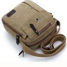 Outdoor Travel Military Vintage Satchel Shoulder Messenger Canvas Bag Khaki