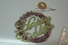 Ragon House Vintage Style Tinsel Easter Wreath Ornament Sign in Pink and Green
