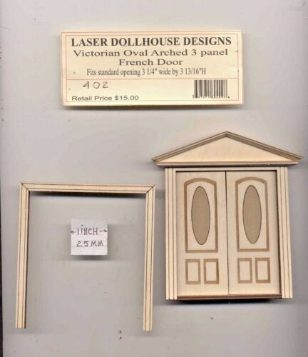 Half 1//24 Scale Victorian Double Door LD0402 dollhouse miniature USA GA