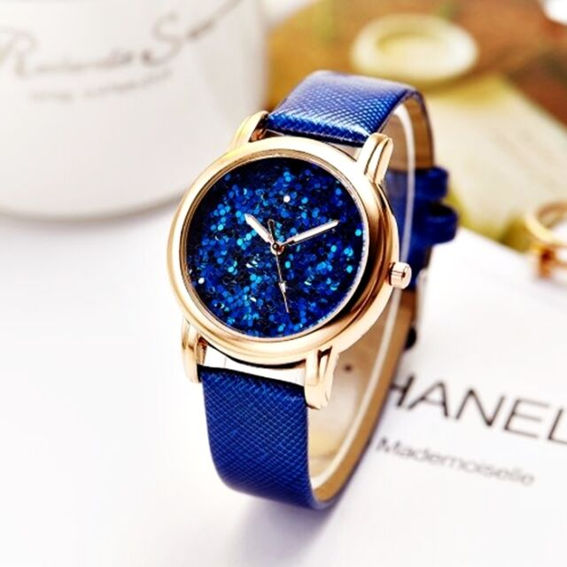 Faux Leather Glitter Face Stylish Women's Analog Quartz Dress Wrist Watches