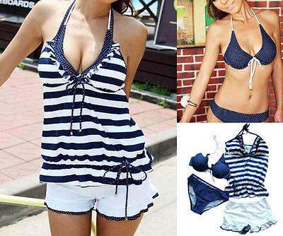 Sexy Women 4PCS Halter Padded Bra Swimsuit Tankini Bikini Swimwear Set  S M L