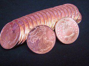 100 1 oz .999 Copper American Eagle Walking Liberty Bullion Coin Rounds