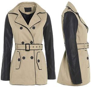 Size-8-10-12-14-16-Women-039-s-MAC-Ladies-TRENCH-JACKET-COAT-Beige-PU-MAC-Leather