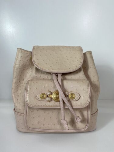 RARE VTG GIANNI VERSACE OSTRICH LEATHER BACKPACK