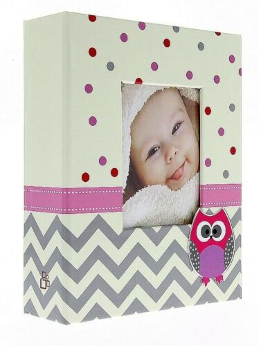 """Beige//Pink Slip In Photo Album 300 6/"""" x 4/"""" Photos Baby Girl Keepsake Gift"""
