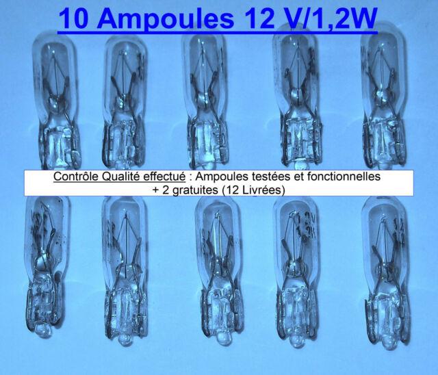 Lot de 10 Ampoules 1.2W T5 12 V W1.2W pour tableau de bord auto voiture ( + 2 )