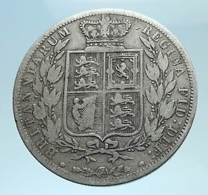 1882-UK-Great-Britain-United-Kingdom-QUEEN-VICTORIA-1-2-Crown-Silver-Coin-i78240