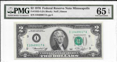 PMG 65 EPQ Gem Uncirculated 1935-I 1976 Minneapolis $2 FRN Fr IA Block