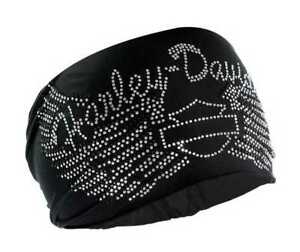 057271c44a1 Image is loading Harley-Davidson-Women-039-s-Headband-Scrunchie-Studded-