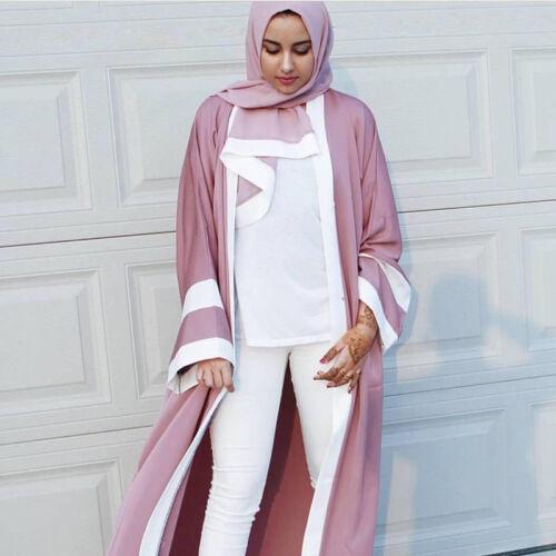 Dubai Cardigan Muslim Women Open Front Long Maxi Dress Islamic Kaftan Abaya Robe
