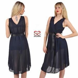 timeless design 92ac5 dd12e Dettagli su Abito corto estivo al ginocchio blu donna vestito elegante  trasparente scollato