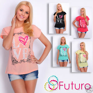 T-Shirt Love Print Short Sleeve Casual Party Cotton Top Tunic Sizes 8-14 FB108