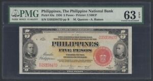 Philippines 5 Pesos 1936 UNC (Pick 83a) PMG-63 EPQ (D2935847D)
