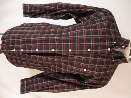 Orvis Mens Black Plaid Long Sleeve Cotton Shirt M