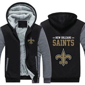 Details About New Orleans Saints Hoodie Jacket Thicken Coat Sweatshirt