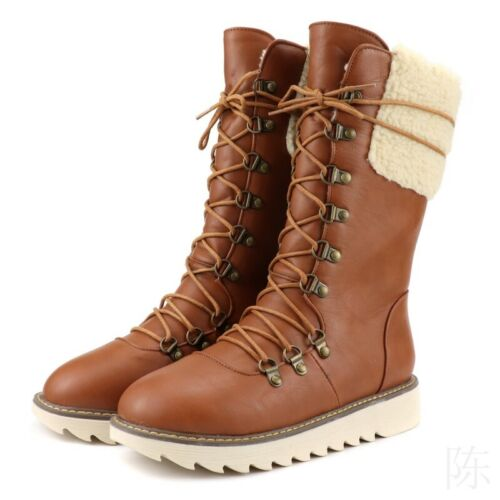 Women Winter Warm Boots Fleece Lined Ankle Shoes Flat Casual Snow Combat Booties