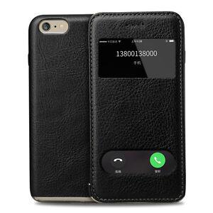 Window-Genuine-Slim-Flip-Leather-PC-Business-Case-For-Apple-iPhone-6-6s-Plus