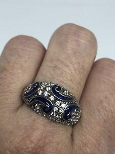 Vintage-Zircon-Cubique-Bleu-Cloisonne-Anneau-Argent-Sterling-925-Taille-9
