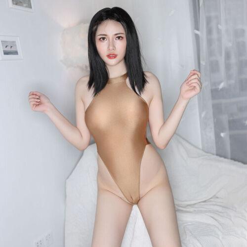 Shiny Japanese Bikini Swimwear HIgh Cut Bodysuit One Piece Monokini Playsuit