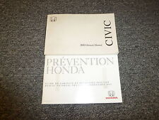 2002 Honda Civic Coupe Owner Owner's Manual User Guide DX EX HX LX Si 1.7L