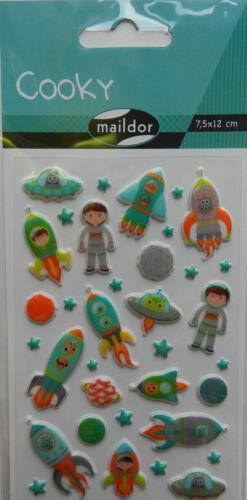 Maildor 35 tlg 3D-Sticker 7,5x12cm Sticker Set Cooky Astronaut Rakete Alien