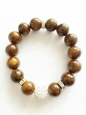 12mm Brown Agate Stone Round Bead with Crystal ball Stretch Bracelet