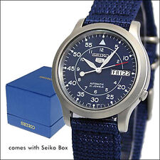 Seiko 5 Military-Style Automatic Field Watch with Blue Canvas Strap #SNK807K2