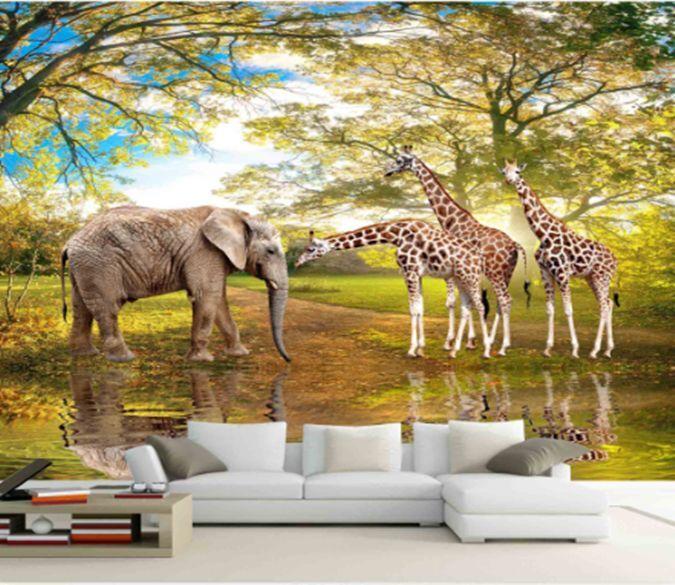 3D Giraffe Elefanten 734 Fototapeten Wandbild Fototapete BildTapete Familie DE
