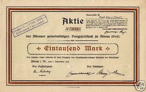Altenaer-Gemeinnuetzige-Baugesellschaft-Altena-Aktie-1919-Sauerland-Westfalen-NRW