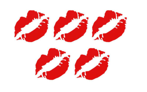 Set of 5 Hot Lips Decals Girl Kiss vinyl window car truck Choose the color