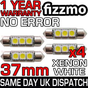 4x 37mm 3 SMD LED 239 272 C5W CANBUS NO ERROR WHITE INTERIOR LIGHT FESTOON BULB