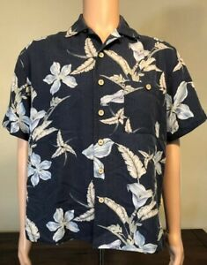 Joe-Marlin-Men-039-s-Hawaiian-Shirt-Blue-Floral-Button-Short-Sleeve-Size-M-Medium