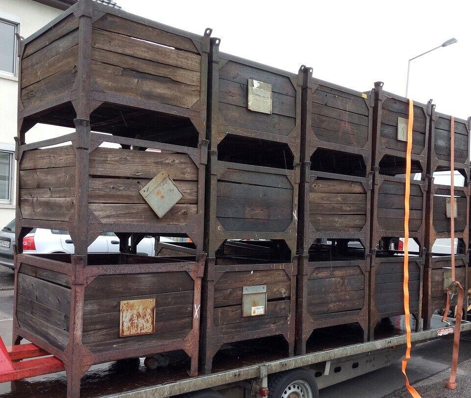 Original STAPELBOX REGAL Tisch Metall Holz Loft Fabrik Industriedesign Gitterbox