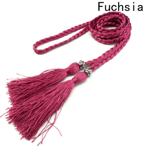 Ladies Knitted Long Leather String Waistband Braid Waist With Tassel Soft Trendy