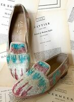Anthropologie Artemis Tan Turquoise Tribal Print Silk Velvet Loafer 39/8-8.5