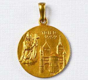 Anhänger 14 Karat 585 Gold Gelbgold Heiliger Rock Trier 1959 Dom Helena 3,16 G