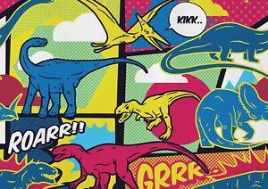 A1-Cartoon-Style-Dinosaur-Comic-Poster-Art-Print-60-x-90cm-180gsm-Gift-14679