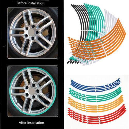 Decoration Wheel Sticker Reflective Rim Tape Tire Strips Motorbike Decals ~