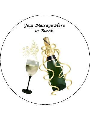 """Novelty Personalised Champagne /& Glass 7.5/"""" Edible Wafer Paper Cake Topper"""