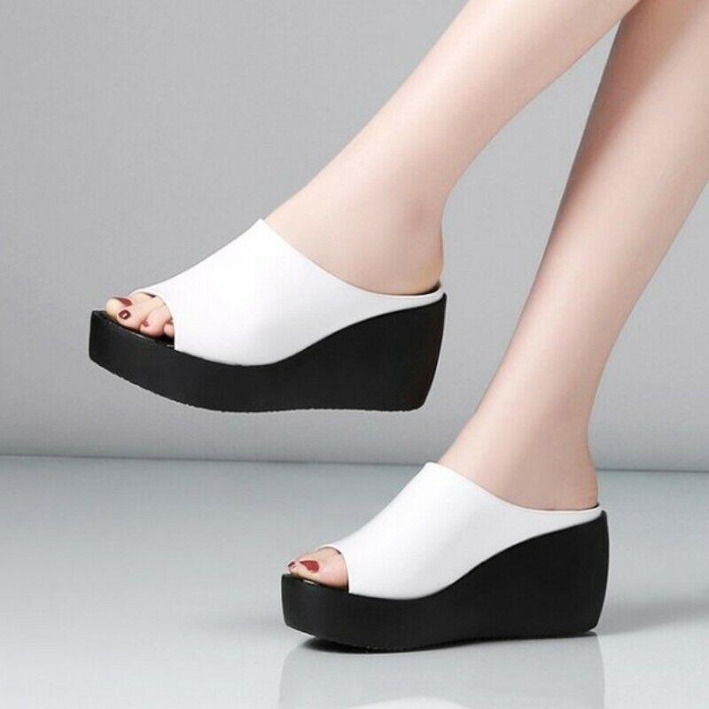 Zapatilla de Mujer de Cuero Sintético Mocasín Sandalia de cuña del talón Zapatos Puntera Abierta EUR34-41