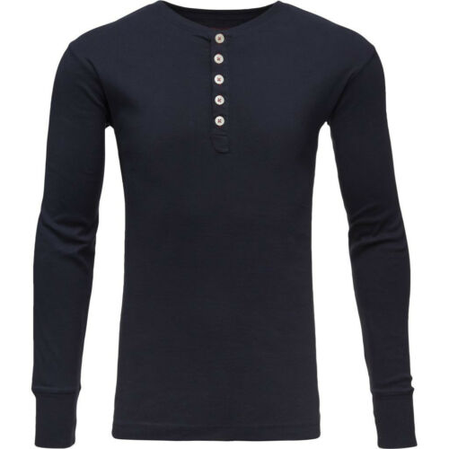 KnowledgeCotton Apparel Rib Knit Henley Total Eclipse Pullover GOTS Biobaumwolle