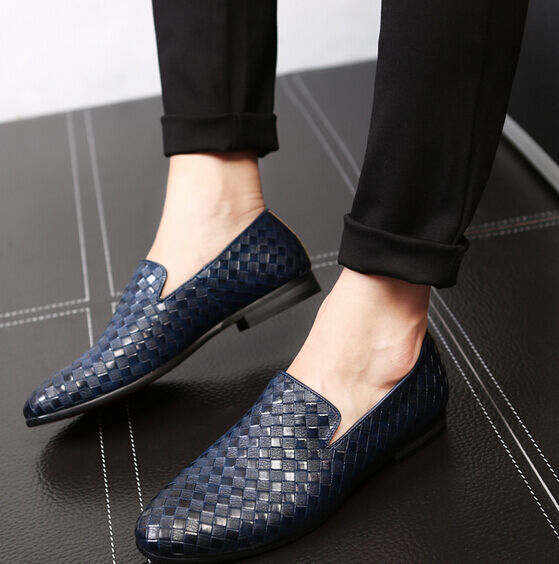 Men's Slip On Dress Loafers Retro Round Toe Business Dress Low Heel shoes Bt15