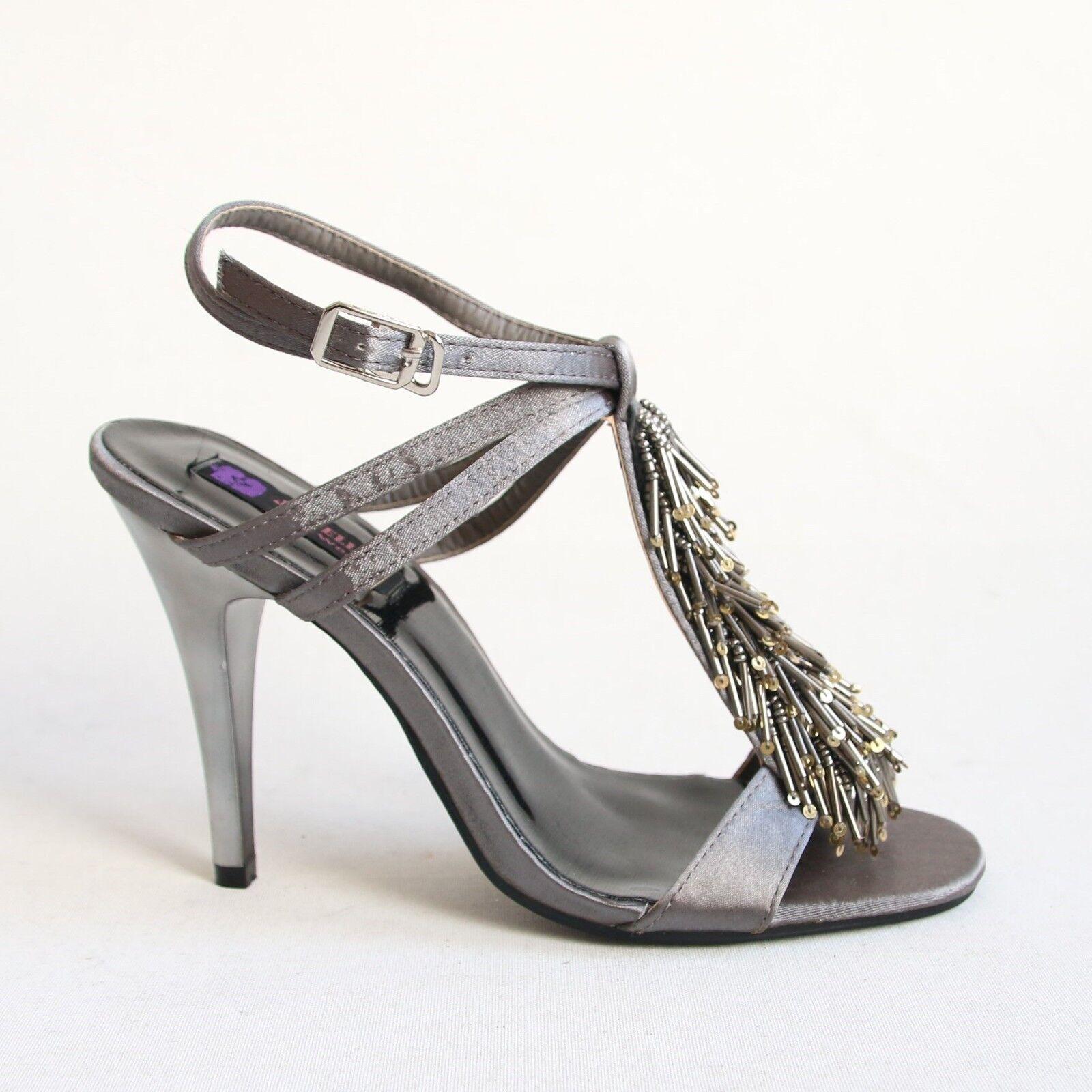 Riemchen Sandaletten 41 Grau High Heels Sandalen Pumps Stilettos Schuhe 168-10