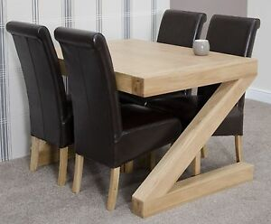 super popular 2fa72 b6be3 Details about Zouk solid oak designer furniture dining table and four  chairs set