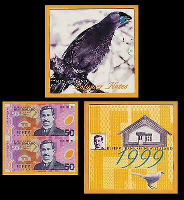 New Zealand 1999 First Polymer UNCUT $50 Commemorative Pair UNC
