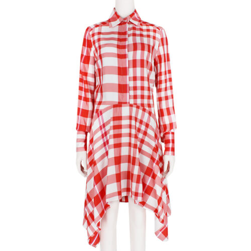 It38 Plaid Dress Shirt White Uk6 Trapeze Stella Mccartney Red Hem C8R7a7q