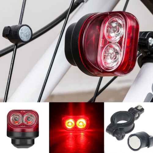 2Pcs Cycling Bike Magnetic Induction Light Safety Warning Rear Tire Lamp New