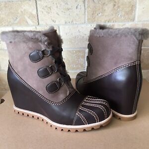 a4aa40b554a Details about UGG ALASDAIR SLATE LEATHER WATERPROOF WEDGE BOOTS BOOTIES  SIZE 9.5 WOMENS