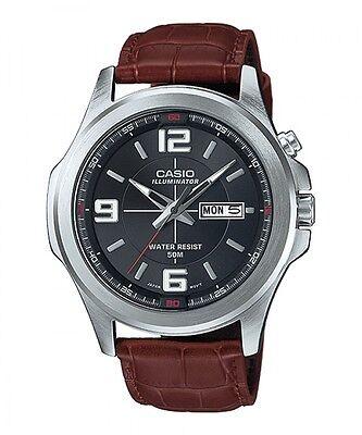 Casio MTP-E202L-1A Men's Illuminator Brown Leather Band Black Dial Dress Watch